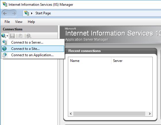Using the Microsoft IIS Manager - Winhost
