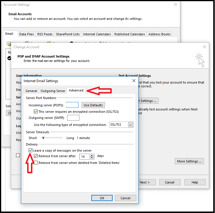 How to configure your POP3 account on Outlook to delete mail